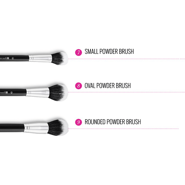 BH Cosmetics Dual Fiber 9 Piece Brush Set With Brush Roll-3610
