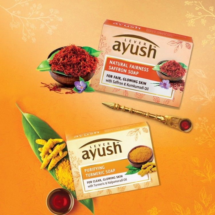 Lever Ayush Soap Bar Natural Purifying Turmeric -8196