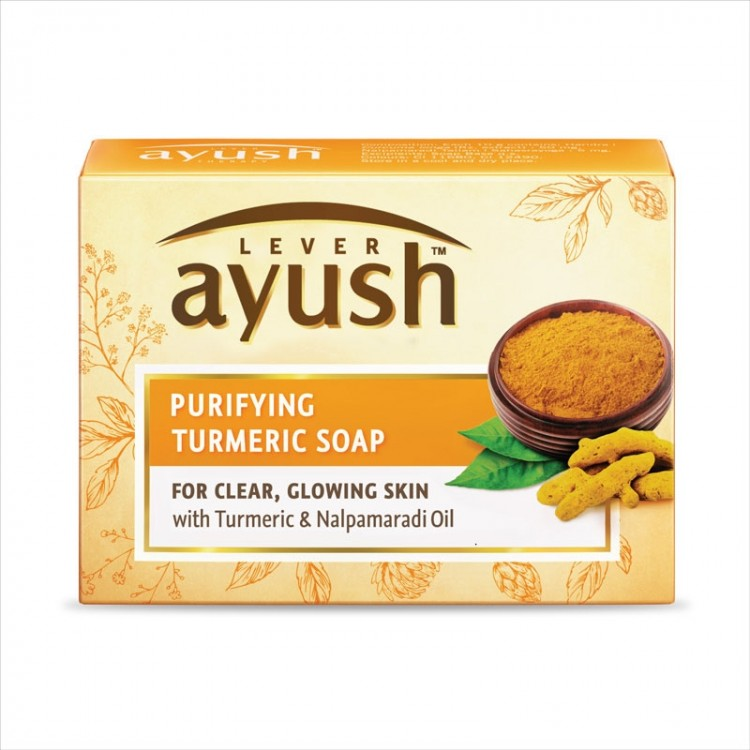 Lever Ayush Soap Bar Natural Purifying Turmeric -8200