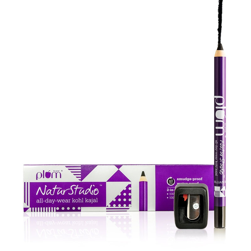 Plum NaturStudio All-Day-Wear Kohl Kajal - Black Brilliance with FREE sharpener -0