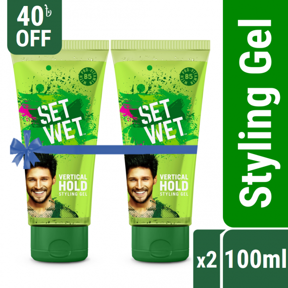 Set Wet Hair Styling Gel for Men Value Pack – Pack of 2, Vertical Hold (100ml x 2)