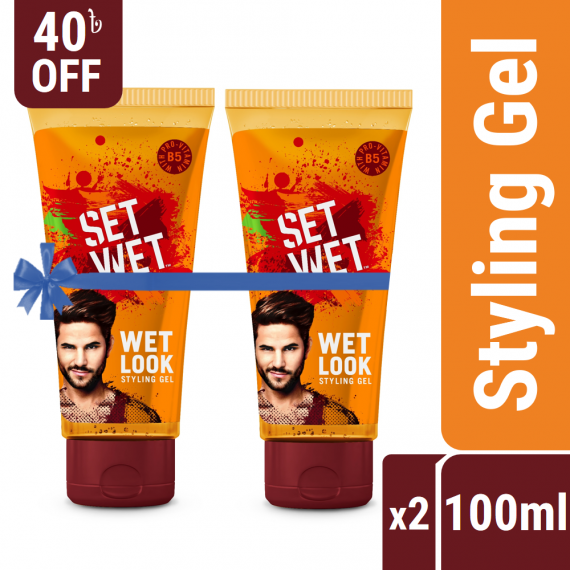 Set Wet Hair Styling Gel for Men Value Pack – Pack of 2, Wet Look (100ml x 2)