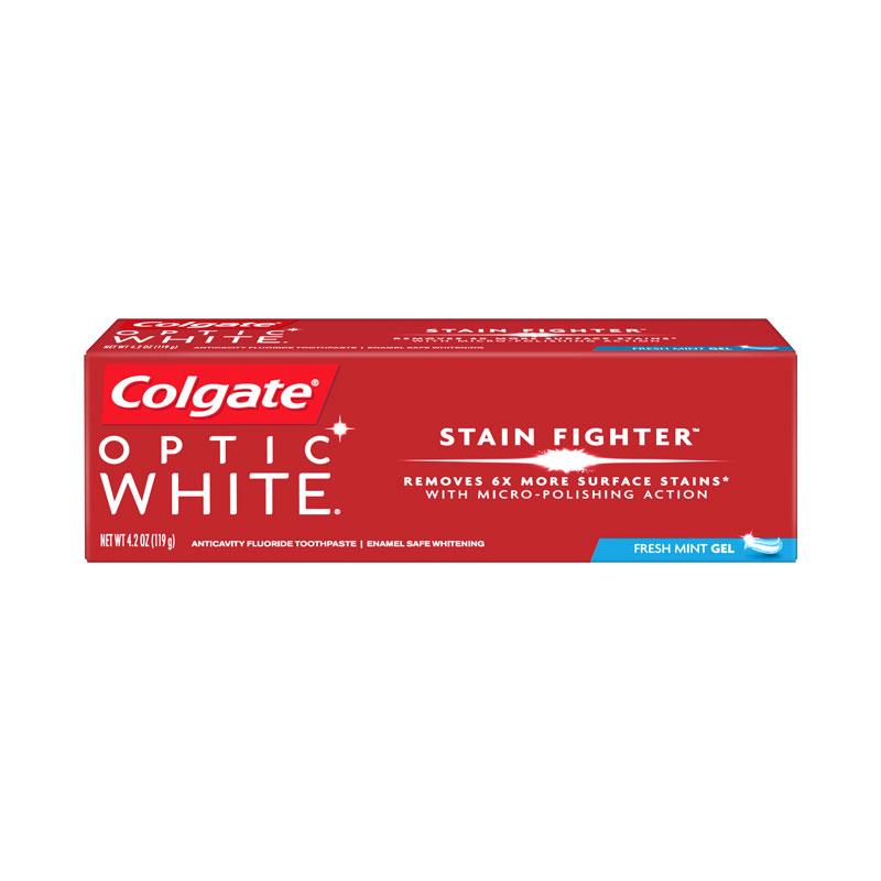 White Wash Gel Stain: Colgate Optic White Stain Fighter Fresh Mint Gel