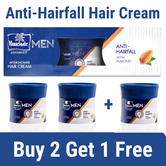 Parachute Hair Cream Advansed Men After shower Anti Hairfall with Almond – 100gm (Buy 2 Get 1 Free Combo Offer)